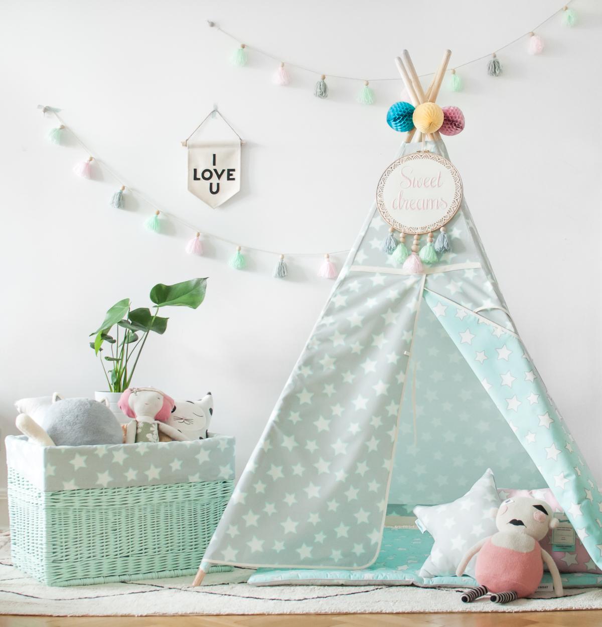 Tipi Mint & Grey Stars (2)