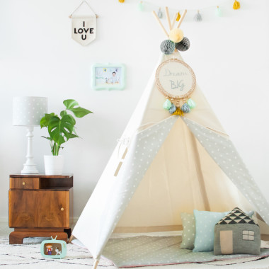 Tipi Natural & Dots Grey
