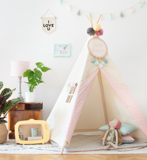 Tipi Natural & Dots Pink (5)