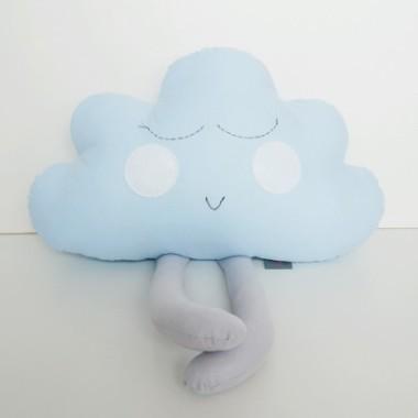 Niebieska poduszka chmurka dla dzieci niemowląt - piękna dekoracja dziecięcego łóżeczka