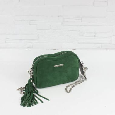 Modna mała torebka skórzana, butelkowa zieleń, srebrny łańcuszek, suwak.
