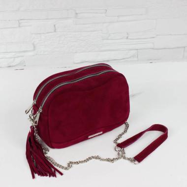 Modna mała torebka skórzana, bordowa, srebrny łańcuszek, suwak.