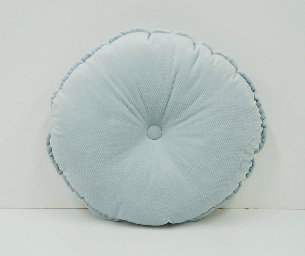 Okrągła szara aksamitna poduszka dla dzieci