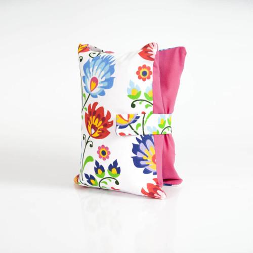 Etui, torebka na pieluchy i chusteczki - kwiaty łowickie