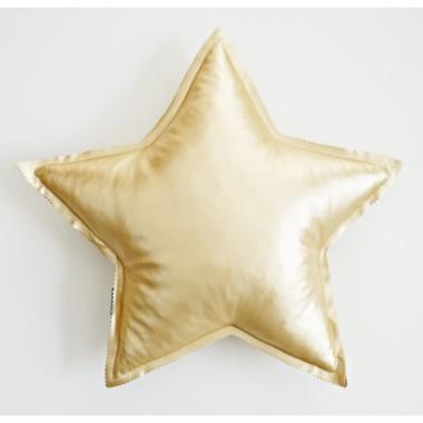 Metaliczna złota poduszeczka do pokoju dziecięcego  w kształcie gwiazdki