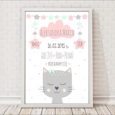 metryczka kotek dla dzieci różowo-miętowa plakat prezent