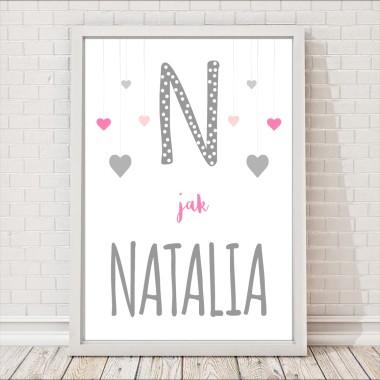 N JAK natalia serduszka plakat dla dzieci personalizowany