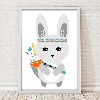 Plakat dla dzieci królik boho strzały przygoda