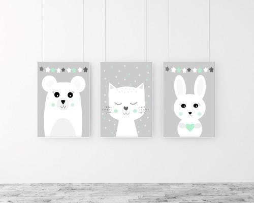 Zwierzaki gwiazdki mięta - tryptyk - obrazki na ścianę do pokoju dziecięcego