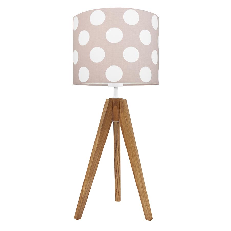 Lampa na stolik Grochy na brudnym różu - trójnóg dębowy