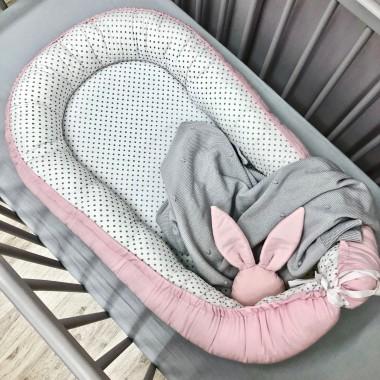 Kokon/gniazdko niemowlęce białe w szare kropki-na zewnątrz różowe