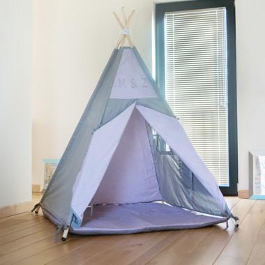 Szaro-fioletowy/liliowy namiot tipi dla dziecka z personalizacją