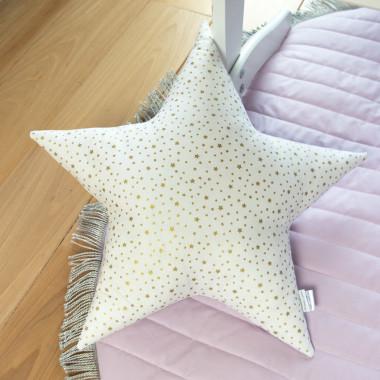 Lila Stars - poduszka ozdobna w złote gwiazdki