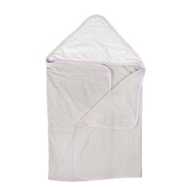 Lila Stars - duży ręcznik kąpielowy z kapturem 140x70 idealny na basen!