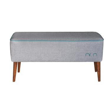 Tapicerowana ławka z drewnianymi nogami w kolorze szarym