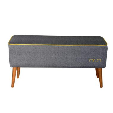 Tapicerowana ławka z drewnianymi nogami w kolorze grafitowym/szarym
