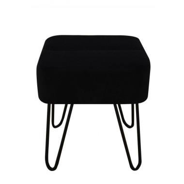 Monochromatyczna nowoczesna czarna pufa na metalowych nóżkach. Minimalistyczna forma sprawdzi się w nowoczesnych wnętrzach.