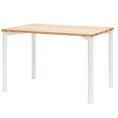 Prostokątny stół do kuchni, jadalni, salonu z drewnianym jesionowym blatem i białymi nogami