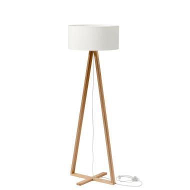 Nowoczesna elegancka minimalistyczna lampa podłogowa do salonu, sypialni, biura, gabinetu. Drewniana podstawa z białym abażurem.