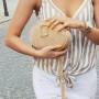 Modna, elegancka mała torebka damska w kolorze beżowy zamsz