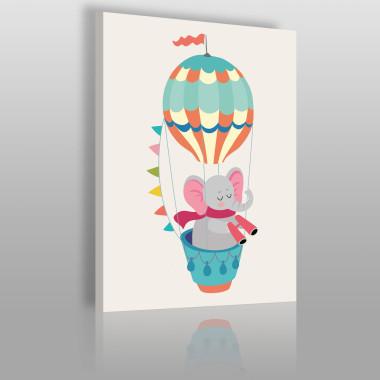 Kolorowy obrazek na płótnie do pokoju dziecka ze zwierzątkiem- słonik w balonie