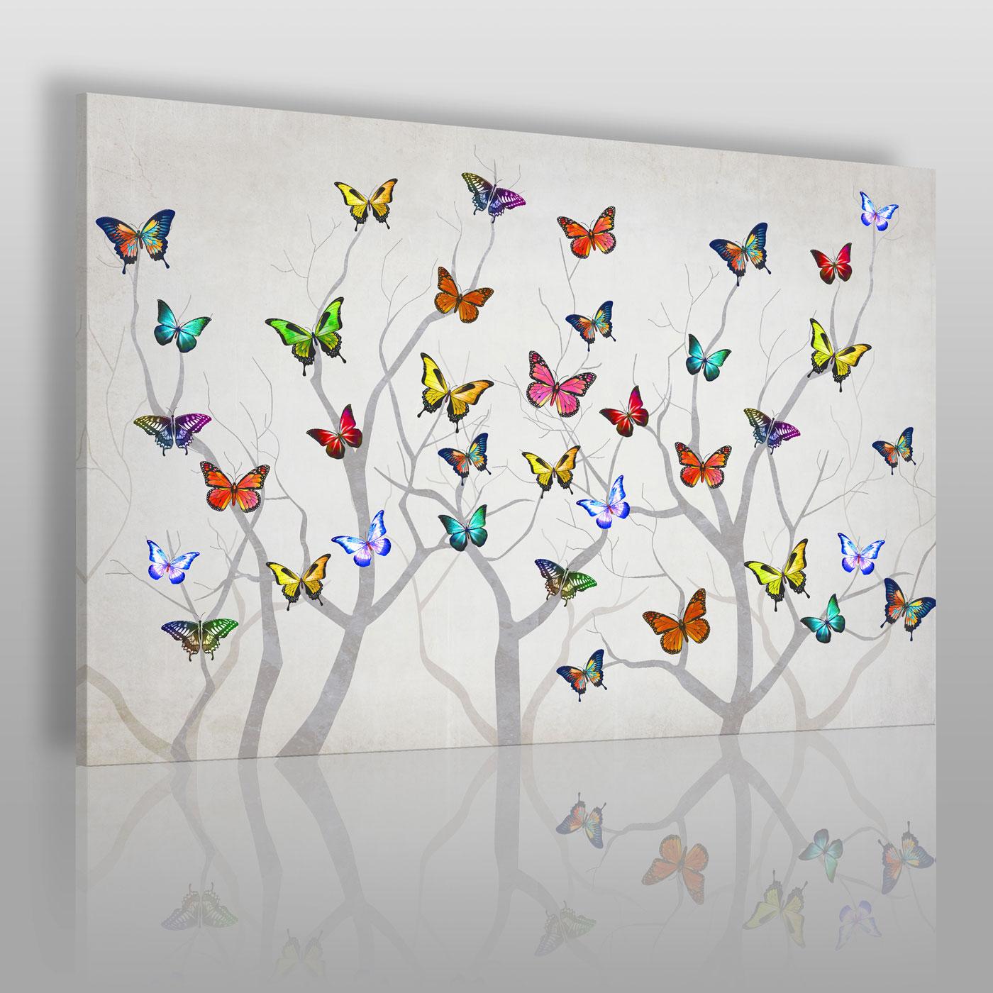 Obraz na ścianę na płótnie -kolorowe motyle na białym tle.