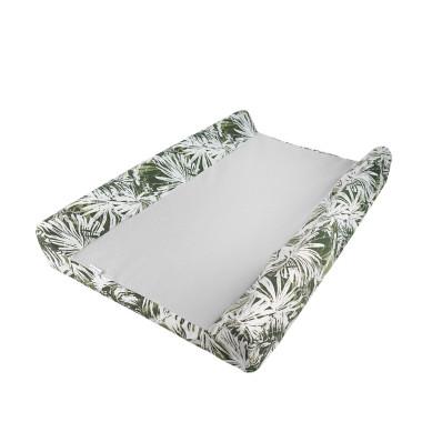 Havana - pokrowiec na przewijak niemowlęcy-biały w zielone liście