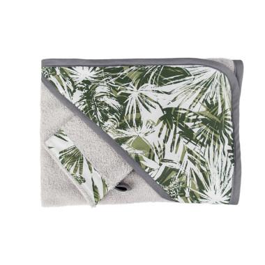 Dwustronny, miękki ręcznik kąpielowy z kapturem dla dziecka w palmy