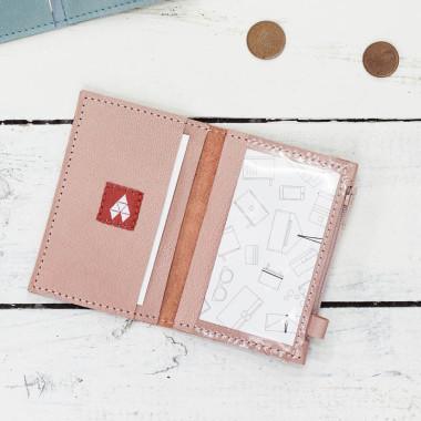 MIKRO +\- minimalistyczny portfel/wizytownik.-róż