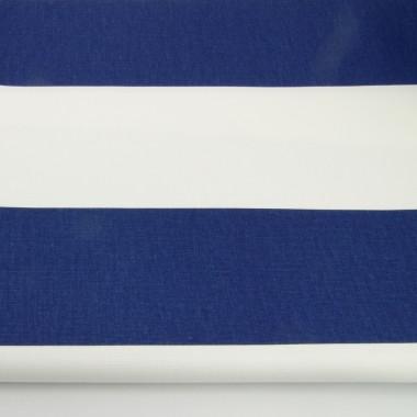 granatowo-biała zasłona z grubej bawełny szyta na wymiar