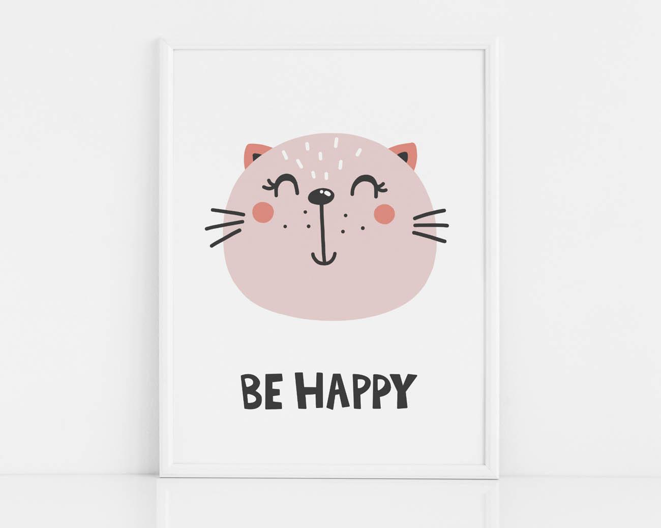 Kolorowy plakat z kotem do pokoju dziecka- BE HAPPY
