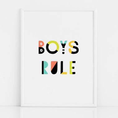Czarno-biały plakat do pokoju dziecka lub nastolatka z kolorowym napisem