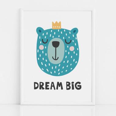 Kolorowy plakat z misiem do pokoju dziecka- DREAM BIG