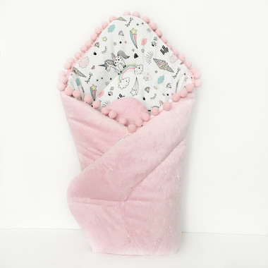 Miękki, dwustronny, różowy rożek dla noworodka- bawełna i minky-element wyprawki