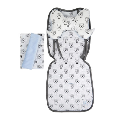 Miękki, dwustronny komplet akcesorii do wózka dziecięcego: ochraniacze napasy, poduszka, wkładka do wózka