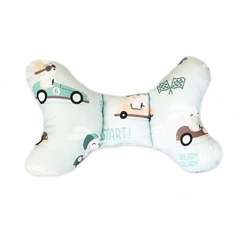 antywstrząsowa, dwustronna, delikatna, miękka poduszka w króliki i auta z szarym minky z certyfikowaną bawełną