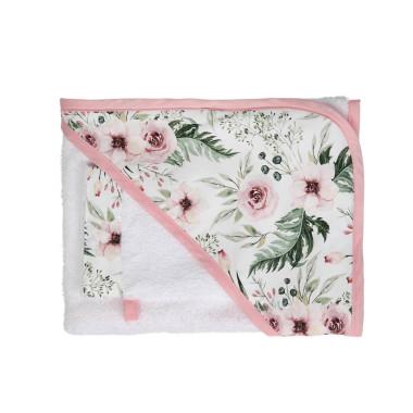 Miękkie, bawełniane okrycie kąpielowe z myjką w różowe kwiatki