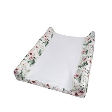 Pokrowiec na przewijak niemowlęcy miękki lub sztywny w różowe kwiaty