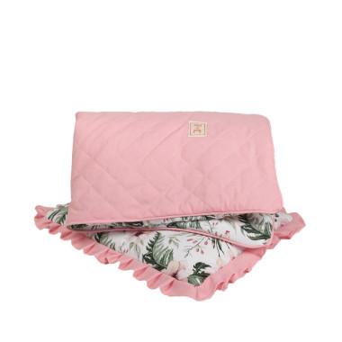 Piękny i elegancki zestaw pikowanej pościeli dla dziecka/ niemowlaka -z wypełnieniem - kołderka z ozdobną wypustką oraz poduszka z falbanką.