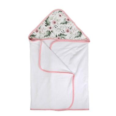 Duży, miękki ręcznik kąpielowy dla dziecka w różowe kwiatki