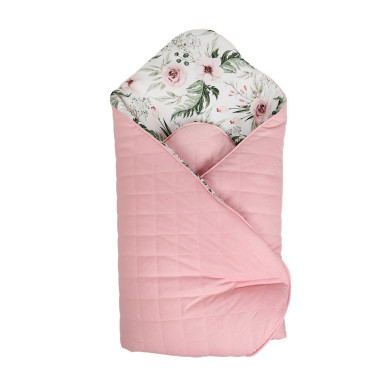 Dwustronny, pikowany rożek dla dziewczynki, różowy w kwiatki