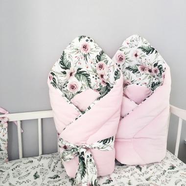 Miekki, przyjemny w dotyku rożek niemowlęcy z różowym minky i wysokogatunkową bawełną. Wyprawka da noworodka.