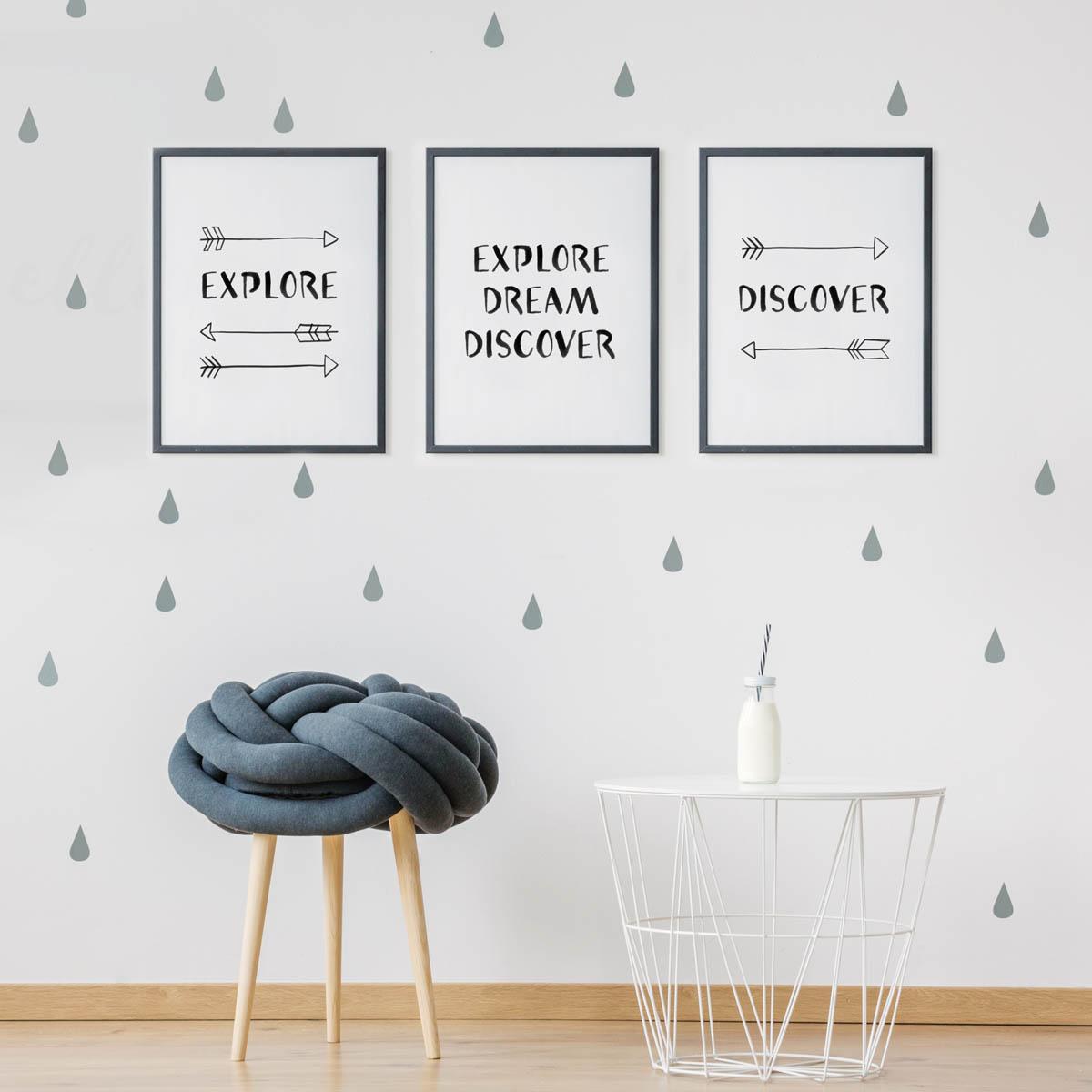 3 czarno-białe plakaty z napisami. Zestaw dla odkrywcy./ podróżnika. Idealny prezent.