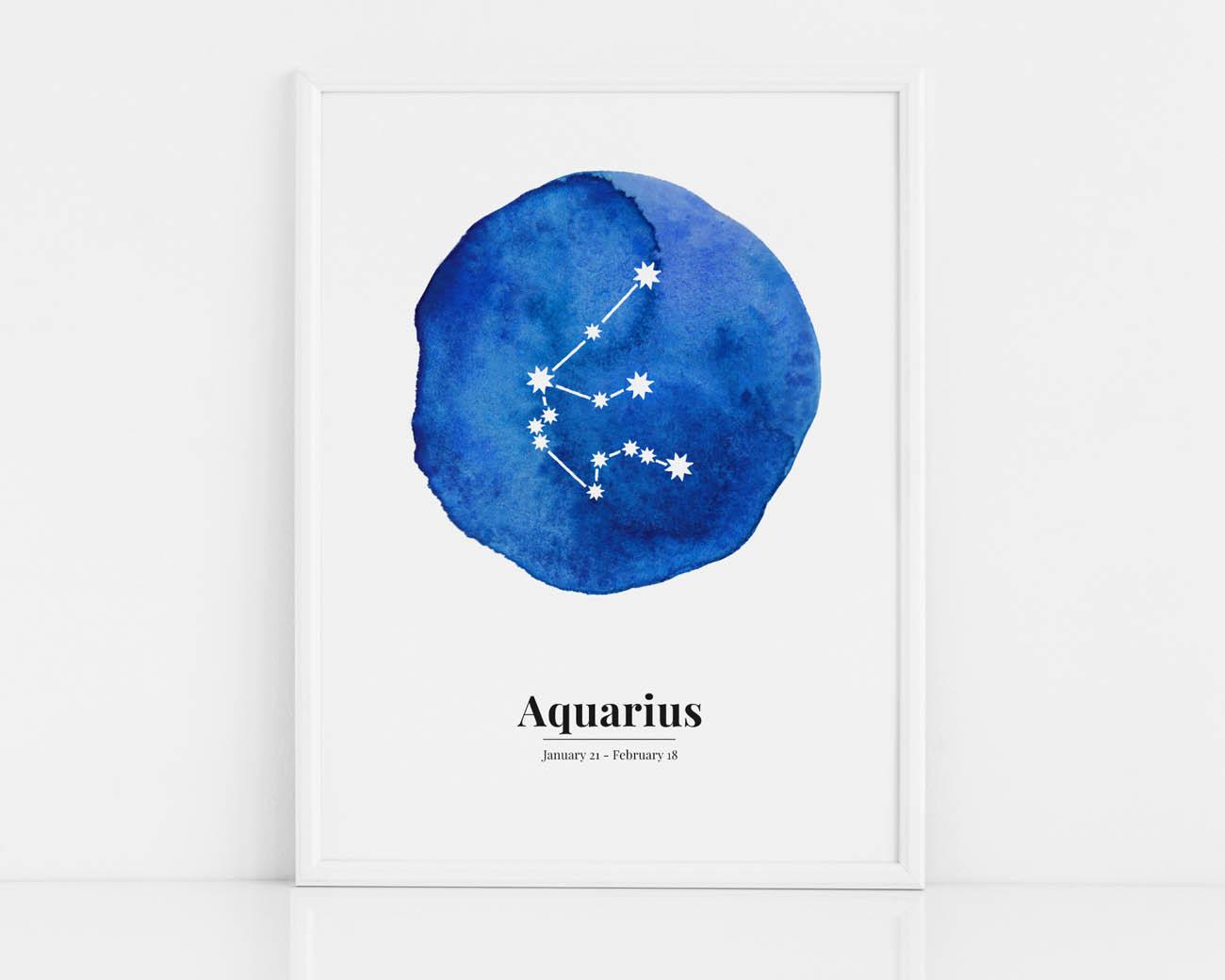 Biało-niebieski plakat ze znakiem zodiaku WODNIK / AQUARIUS