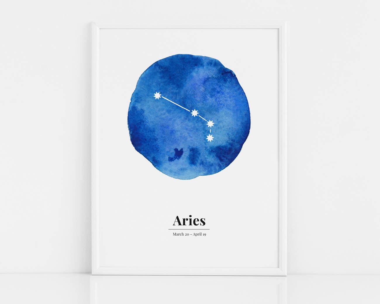 Biało-niebieski plakat dla dziecka ze znakiem zodiaku-Baran