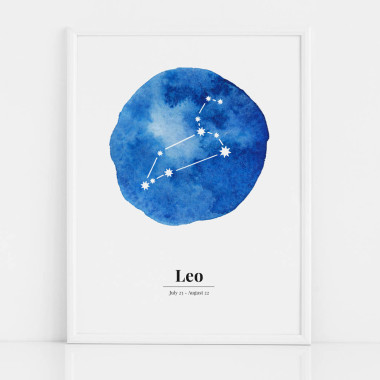 Biało-niebieski plakat ze znakiem zodiaku LEW / LEO