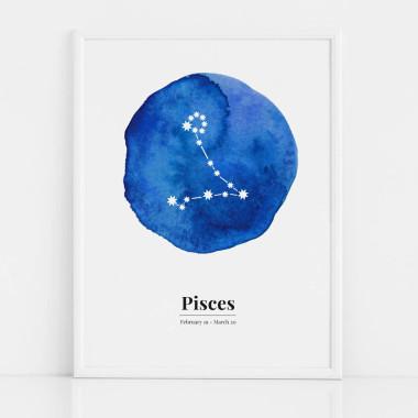 Biało-niebieski plakat ze znakiem zodiaku RYBY / PISCES