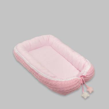 Dwustronny, miękki, różowy kokon dla niemowlęcia