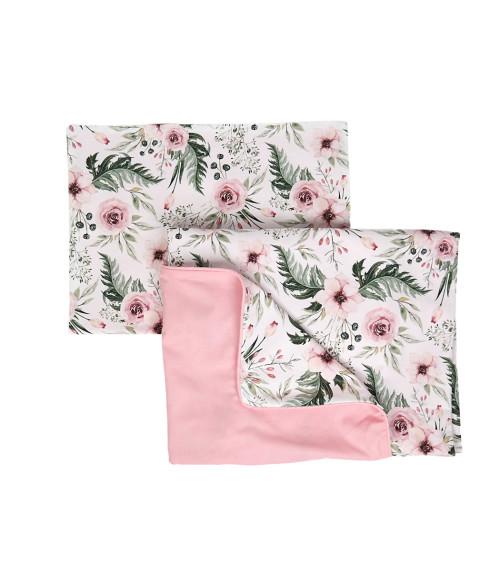 Komplet pościeli dla dzieci - w kwiaty, obszyta różową lamówką