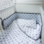 Dwustronna, miękka błękitna w misie pościel dziecięca + ochraniacz na szczebelki do łóżeczka